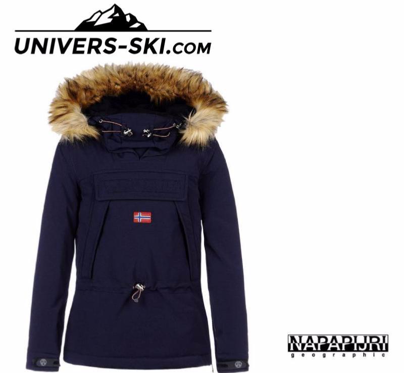 Extrêmement Veste de ski NAPAPIJRI Skidoo Femme Bleu Marine ECO FUR 2018 KB43