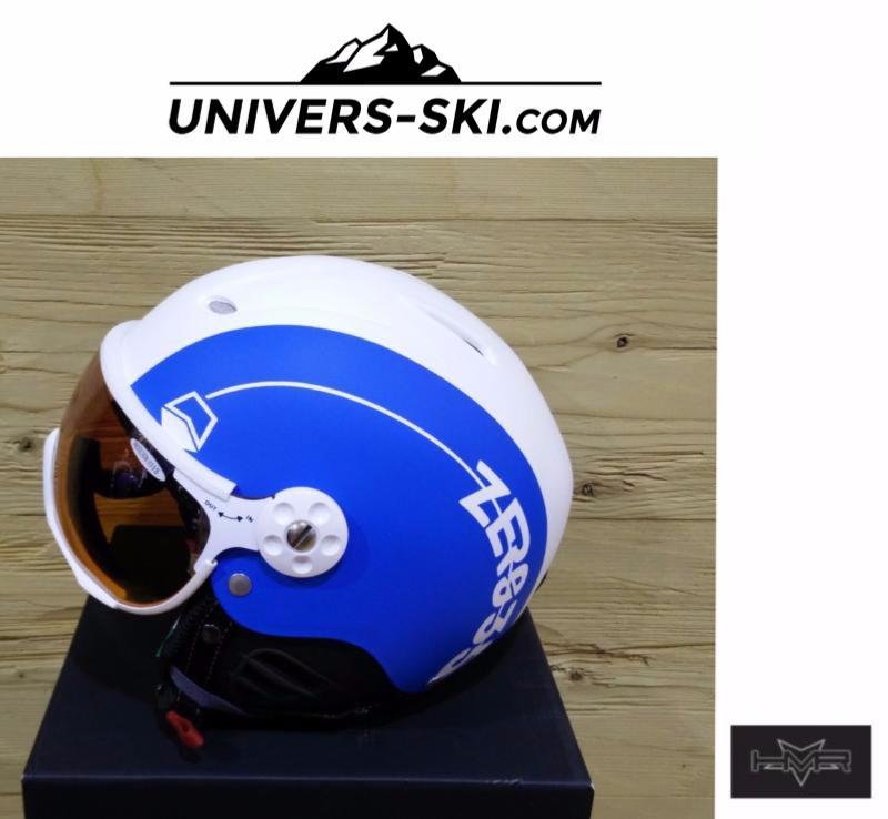 Casque De Ski Hmr Zero 35 Eclipse Blanc Et Bleu électrique Avec Visière